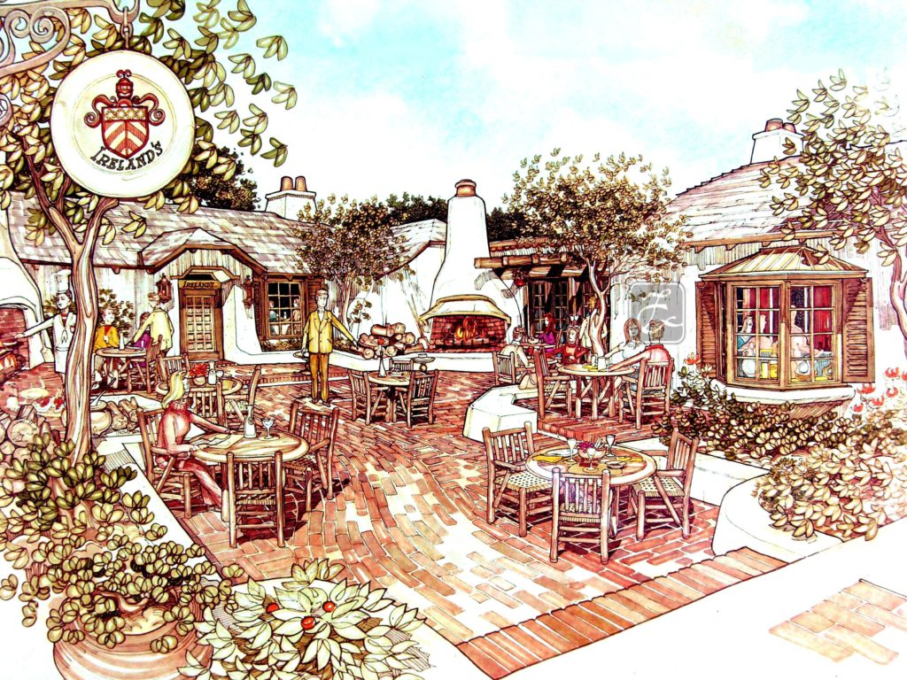 Ireland's Restaurant,1978, for actor John Ireland, with outdoor fire and English courtyard