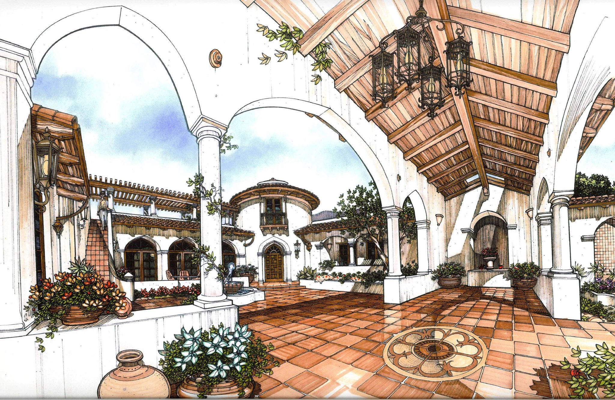 La Romana - The Entry Court, framed by a Loggia and a Raised Terrace, Upper terrace beyond via stairs