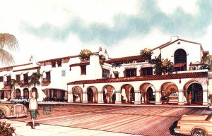 Victoria Court, Santa Barbara drawing by Lawrence Thompson